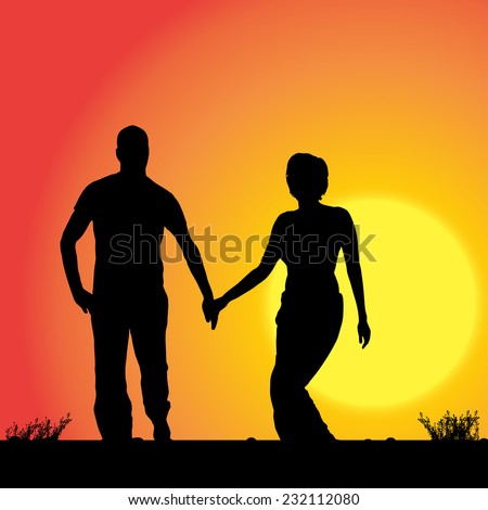 Vector silhouette of the couple who walk on sunset.