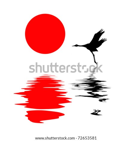 vector silhouette of the crane on white background - stock vector