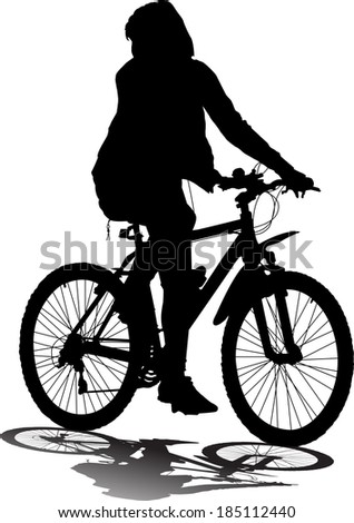 Vector silhouette of the cyclist - stock vector