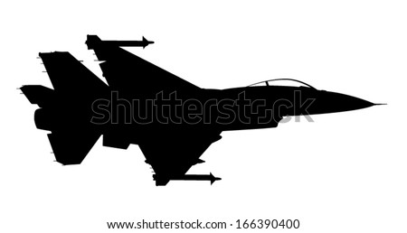 Vector silhouette of the fighter jet (F-16) in flight. - stock vector