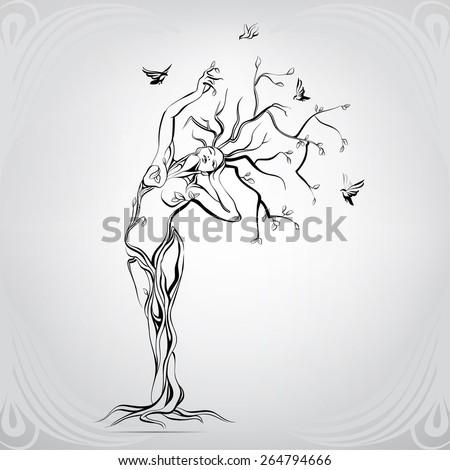 Woman tree stock vector. Illustration of sustainable - 18317296