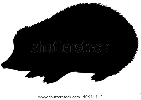 vector silhouette of the hedgehog on white background - stock vector