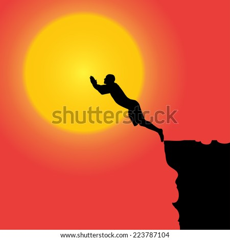 Vector silhouette of the man who jumps off a cliff.