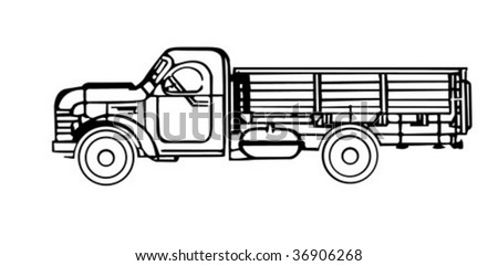 vector silhouette of the old cargo car - stock vector