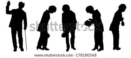 Vector silhouette of the old woman on a white background.