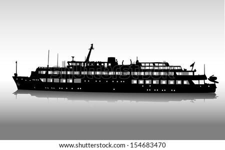 Vector silhouette of the passenger ship - stock vector