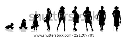 Vector silhouette of the process of generational people.
