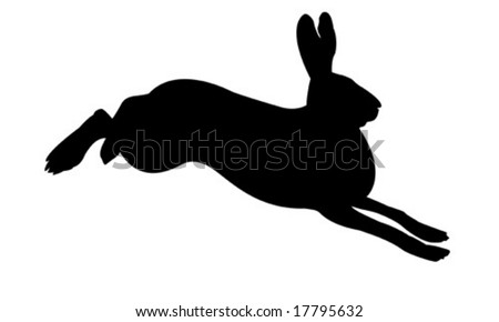 vector silhouette of the rabbit on white background - stock vector