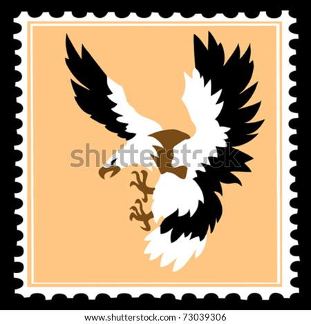 vector silhouette of the ravenous bird on postage stamps - stock vector