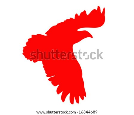 vector silhouette of the ravenous bird on white background - stock vector