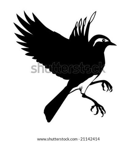 vector silhouette of the small bird on white background - stock vector