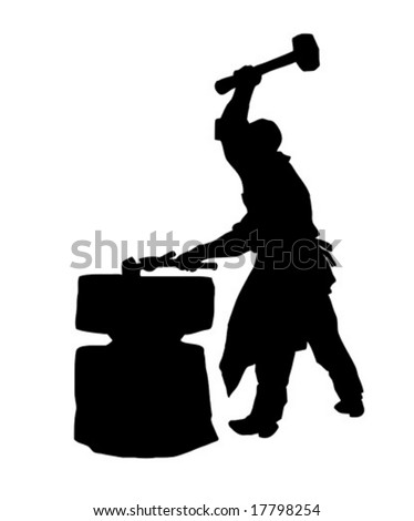 vector silhouette of the smith on white background - stock vector
