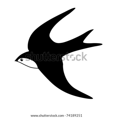 vector silhouette of the swallow on white background - stock vector