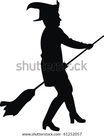 Vector silhouette of the witch with a broom. Halloween