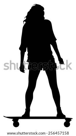 Vector silhouette of the woman that skating on skateboard.
