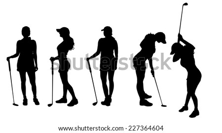 Vector silhouette of the woman who plays golf. - stock vector