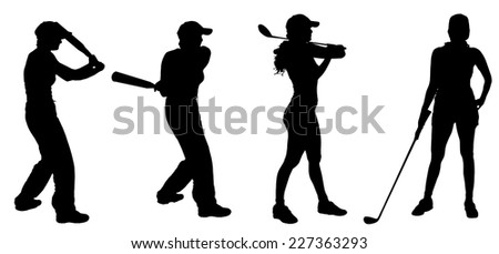Vector silhouette of the woman who plays golf and baseball.