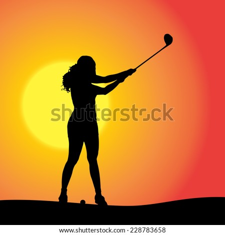 Vector silhouette of the woman who plays golf at sunset. - stock vector