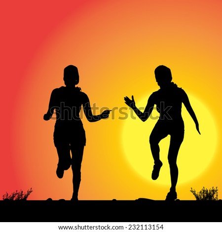 Vector silhouette of the women who run in sunset. - stock vector