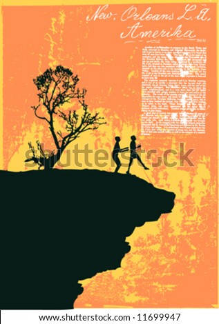 vector silhouette of two boys standing edge of the cliff - stock vector