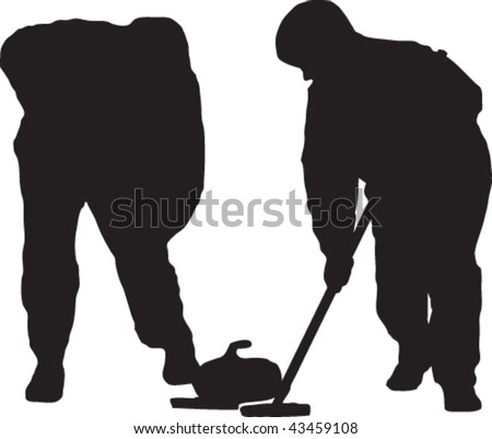 Vector silhouette of two curlers sweeping a stone.