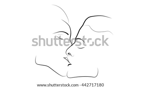 Vector silhouette of two kissing profiles