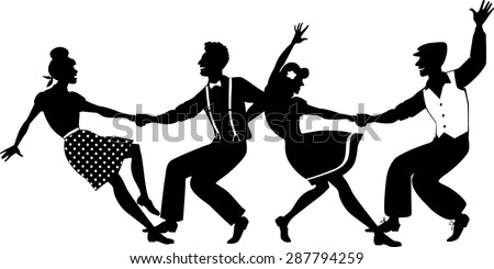 Stock Vector Vector Silhouette Of Two Young Couple Dressed In S Fashion Dancing Lindy Hop Or Swing In A on Jitterbug Dancing