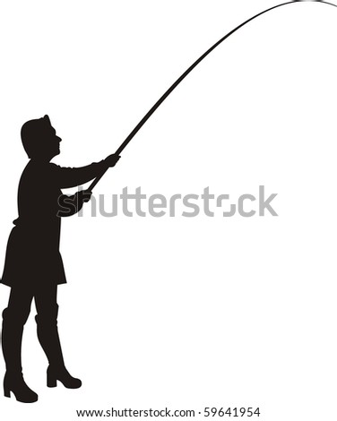 Vector silhouette of woman in fishing.