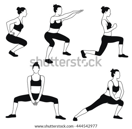 Vector silhouette of woman in sport dress doing fitness exercises for muscles of legs. Workout in proses. Sportive girl icon.