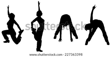 Vector silhouette of woman practicing on a white background.