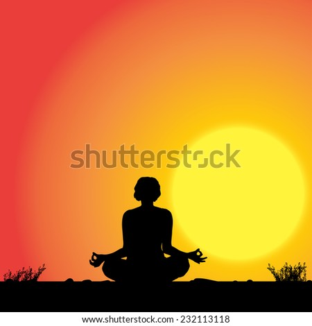Vector silhouette of woman who is practicing in sunset.