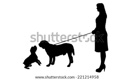 Vector silhouette of woman with a dog on a white background.