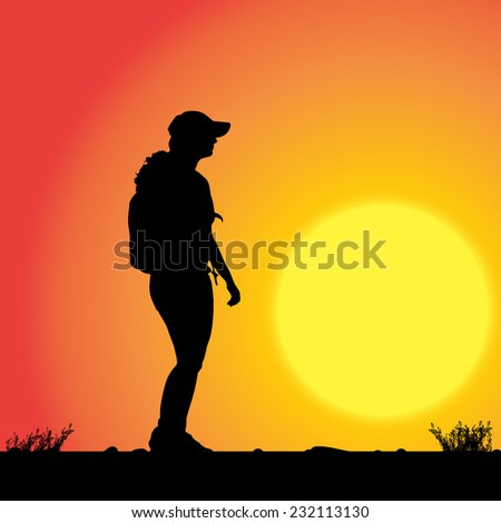 Vector silhouette of woman with backpack in sunset.