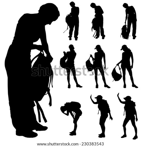 Vector silhouette of woman with backpack on white background.