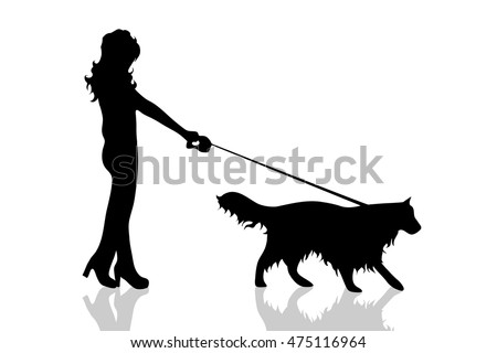 Vector silhouette of woman with dog on white background.