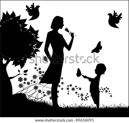 Vector silhouette of woman with small child and flowers - stock vector