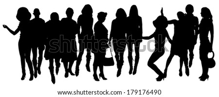 Vector silhouette of women on a white background.