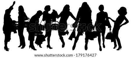 Vector silhouette of women who buy on a white background.