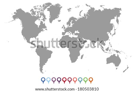 Vector Silhouette of World Map - stock vector