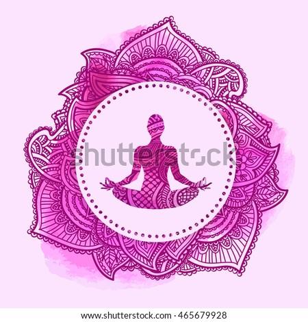 meditation buddha lotus flower symbol enlightenment stock