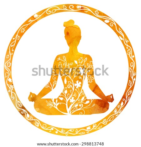 Vector silhouette of yoga woman in circle frame with bright orange watercolor texture and floral ornament. Autumn colors and tree leaves decoration. Lotus pose - Padmasana. - stock vector