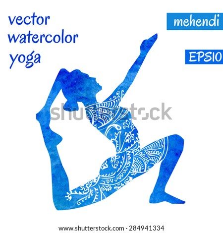 Vector silhouette of yoga woman with bright blue watercolor texture and white ethnic ornament. - stock vector