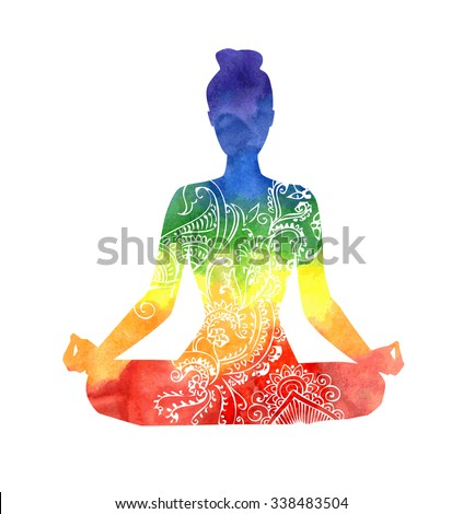 Vector silhouette of yoga woman with white decorative pattern. Bright colorful watercolor texture in rainbow dyes. Isolated figure on white background. Padmasana - Lotus pose. - stock vector