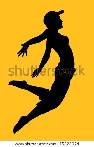 Vector silhouette of young dancing woman - stock vector