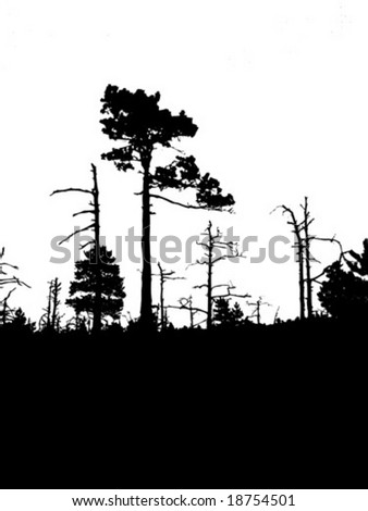 vector silhouette old wood on white background - stock vector