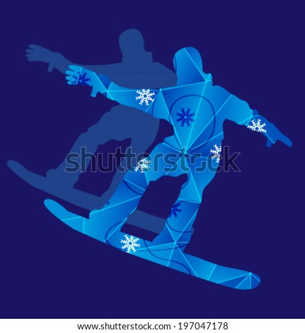 Vector silhouette people with pattern. Template for design. Use for flayers, package, posters or card. Snow background. - stock vector