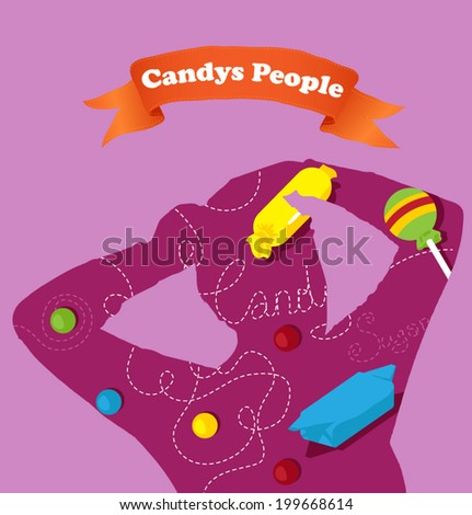 Vector silhouette people with pattern. Template for design. Use for flayers, package, posters or card. Candy background. - stock vector