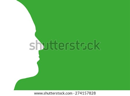 Vector silhouette profile of a man on a green background.