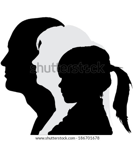 Vector silhouette profile of family on white background.