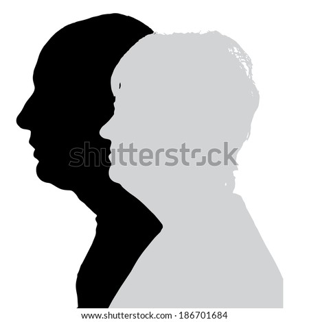 Vector silhouette profile of men and women on white background.